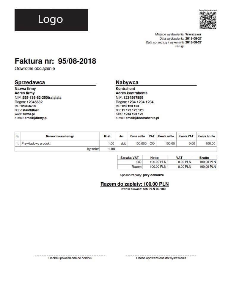 Faktura Odwrotne Obciążenie 2018 Pdf Wzór I Przykład Jak Wystawić